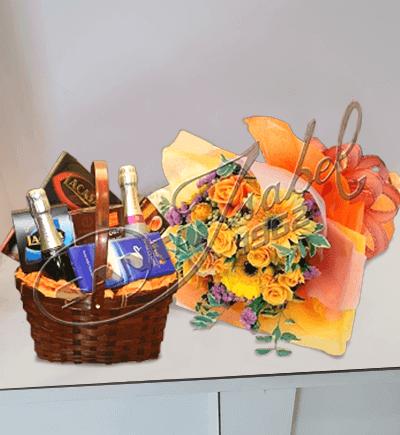 Canasta de chocolates y flores